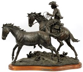 "TRUMAN BOLINGER (AMERICAN B 1944), BRONZE SCULPTURE, #3/30, H 18"", W 24"", ""THE WILD ONES"" Lot # 0001"