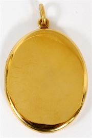 "14 KARAT GOLD OVAL LOCKET, H 2"", W 1 1/4"" Lot # 0007"