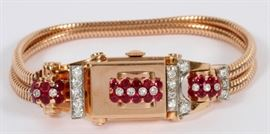 "1CT RUBY, .50CT DIAMOND AND 14KT ROSE GOLD LADY'S WRISTWATCH, L 7"" Lot # 0006"