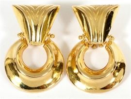 "14KT GOLD DANGLE EARRINGS, PAIR, H 1 3/8"", W 7/8"" Lot # 0010"