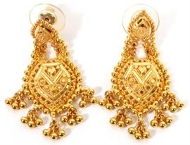 "BAHRAINI 22KT YELLOW GOLD DANGLE EARRINGS, PAIR, H 1 5/8"", W 3/4"" Lot # 0008"