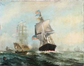 "SIGNED, OIL ON CANVAS, 1914, H 47"", W 62"", CLIPPER SHIPS Lot # 0011"