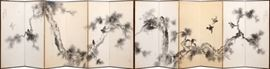 "JAPANESE HAND PAINTED SILK ON PAPER, 12 PANEL SCREEN, 18TH C., EACH PANEL: H 69"", W 24"" Lot # 0013"