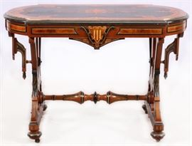 "VICTORIAN RENAISSANCE REVIVAL INLAID, EBONIZED, GILT-INCISED WALNUT OCCASIONAL TABLE, C1870, H 29"", L 44"", D 27"" Lot # 0020"
