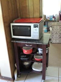 """Sharp""  convection microwave oven.  Microwave oven cart and lots of Dishes, pots and pans ...."