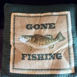 Gone Fishing Decorative Throw Pillow.