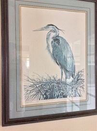 """Wetland Blue"" Great Blue Heron by Lawrence Snyder, Signed and Numbered."