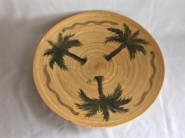 """Wooden Painted Plate. 17 1/2"""" Diameter. Andrea Ward Designs."""