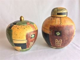 """Pair of Decorative Jugs, 7"""" H and 8 1/2""""."""