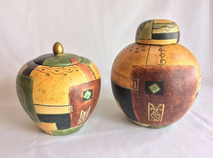 "Pair of Decorative Jugs, 7"" H and 8 1/2""."