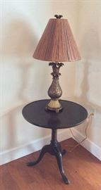 Side Table and Decorative Lamp.
