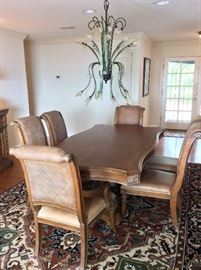 "Dining Room Table and Chairs. 78"" L x 45"" W with 8 Chairs. Beautiful Chandelier."