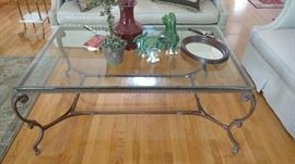 Metal and glass coffee table with marble insert for base