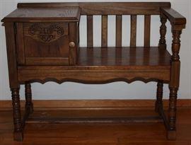 Pulaski Oak Telephone Gossip Bench