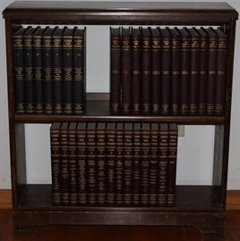 Walnut 2-Shelf Book Case shown with Encyclopedias & Year Books (Buy your or your child's birth year)