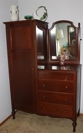 Antique Walnut Chifferobe with tilted side mirror over a 4-drawer chest