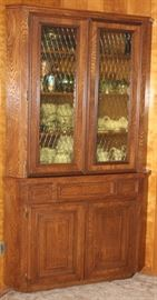 Corner China Cabinet: Amber Paned Double Doors over Drawer and Double Door Cabinet