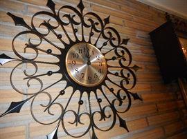 Mid Century Wrought Iron Star Burst Clock