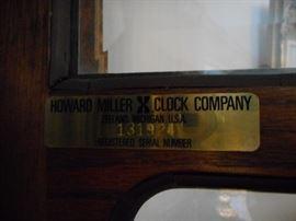 Howard Miller, Serial Number Brass Plate