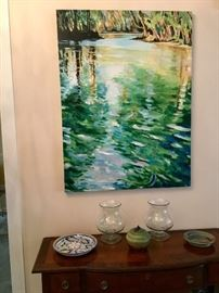 Annie Pace large oil painting, nice sideboard, pottery etc