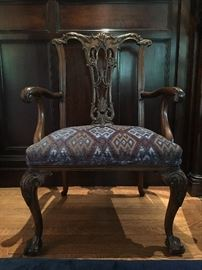 Pierced Splat Turn of the Century Claw Foot Chairs, set of TEN