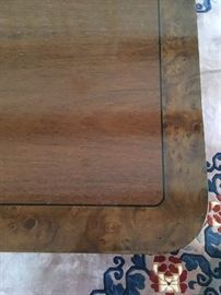 Burled Band Double Pedestal Dining Table