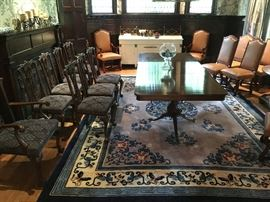 Fine Dining? Antique Double Pedestal Table with your Choice of Pierced Splat or Cognac Leather with Nailhead Trim