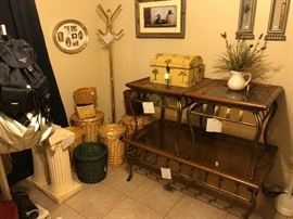 coffee and end tables, baskets, coat rack, pedestals