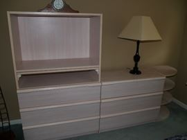Bleached wood dressers w/bookshelf mfg. Bellini.  $200