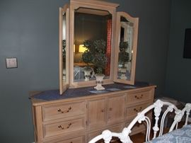 Bleached wood triple dresser with attached mirror.  Impressions by Thomasville.