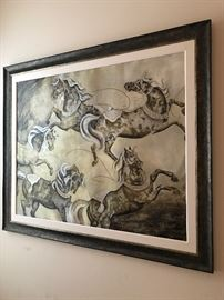 "Beautiful Large Framed Original Oil Painting ""Dancing Horses by Susan Hartenhoff"".  Medium used; oil with silverleaf, goldleaf, bronzeleaf"