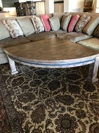 Custom-made gorgeous solid wood with a metal band (very heavy) coffee table