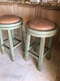 2 Beautiful Round Corneile French Country Classic Barstools with Leather Inserts .  Excellent Condition!