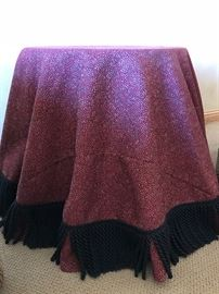 Accent table with high-end custom-made tablecloth and fringe