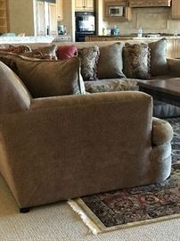 """Gorgeous """"Robb & Stucky sectional in excellent condition!  Tan silk/chenille fabric with assorted pillows."""
