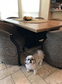 Contemporary Kitchen Table with 6 Barrel back chairs. Literally like new