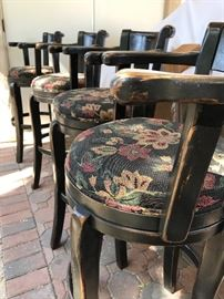 French Country Round Barstools. Fabric is in a high-end floral fabric. (Note: Each barstool needs minor repairs).