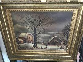 Antique oil painting ca. 1900