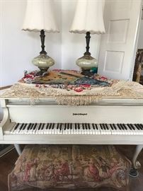 White Baby Grand - Antique piano scarf