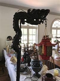 Dragon Floor lamp, Rosewood with original shade ca. 1900