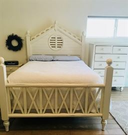 High-quality brand name furniture and mattress  This entire bedroom collection features an antiqued white paint finish. The delightful combo nation of shape and substance is infused throughout.