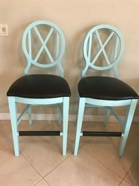 Hand painted, newly upholstered, High, Cross Back, Bar Stools (Set of 2)