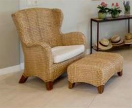 2 Seagrass Wingback Armchairs, 2 Cushion &  2 Ottomans. Incredibly durable, rich honey seagrass.