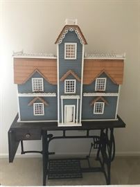 Vintage doll house with furnishings/Antique sewing machine base
