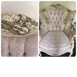 Homer Bros custom Rococo style wing back chair.  We have a pair!