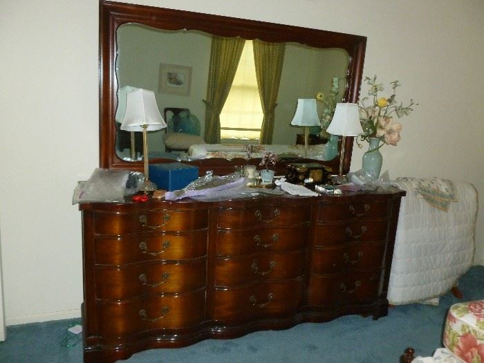 Vintage Mahogany serpentine front triple dresser & mirror