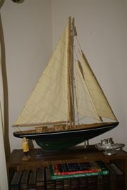 Large Wooden Pond Sail Boat