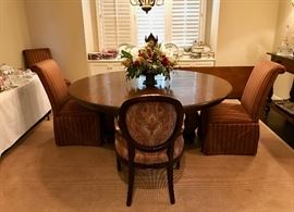 Round Woodland Table with one leaf, set of 4 Baker Arm Chairs, set of 4 High Backed Slipper Chairs, 11 x 11 rug