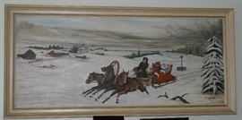 Russian Troika 3 Horses Abreast Sleigh Oil Painting