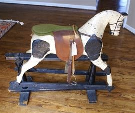 C.1890's Antique Wooden Sliding Rocking Horse - German